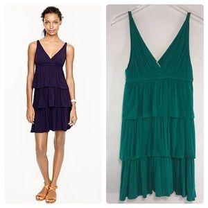 J Crew Aqua Tiered Ruffle Dress Size M